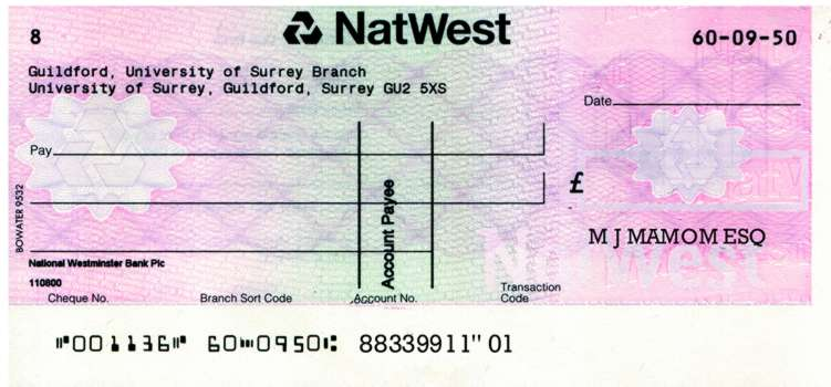 Bank Cheque Fill Bank Cheque